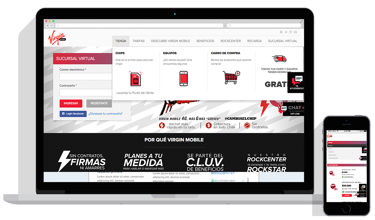 Virgin Mobile Chile website