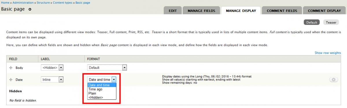 How To Create a Custom Format for a Date Field | La Drupalera